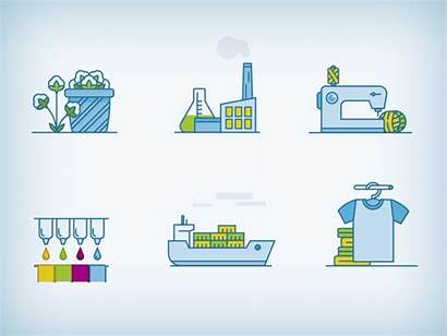 Chain Supply Animated Textile Icons Factory Production