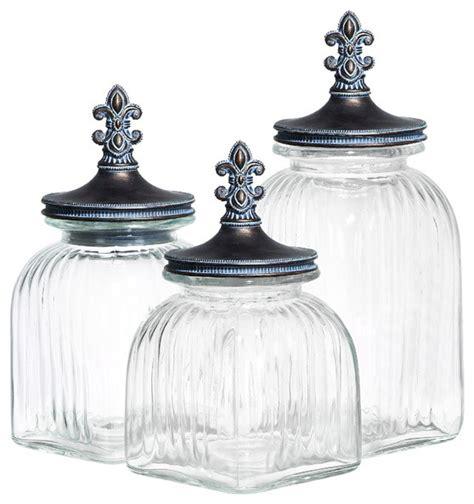 glass kitchen canisters casa cortes fleur de lis 3 glass canister set