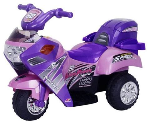 Pink Kids 6v Electric Ride On Power Motorcycle Toy Scooter