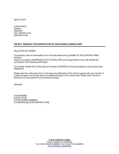 request  verification  receivable  audit