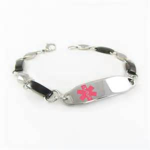 Womens Steel Medical ID Bracelet, Black & Silver, Custom Engraved, White - i2C-BS7