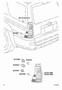 Toyota 4runner Tail Light  Left  Rear   Lens And Body   Rr  Combination  Lens