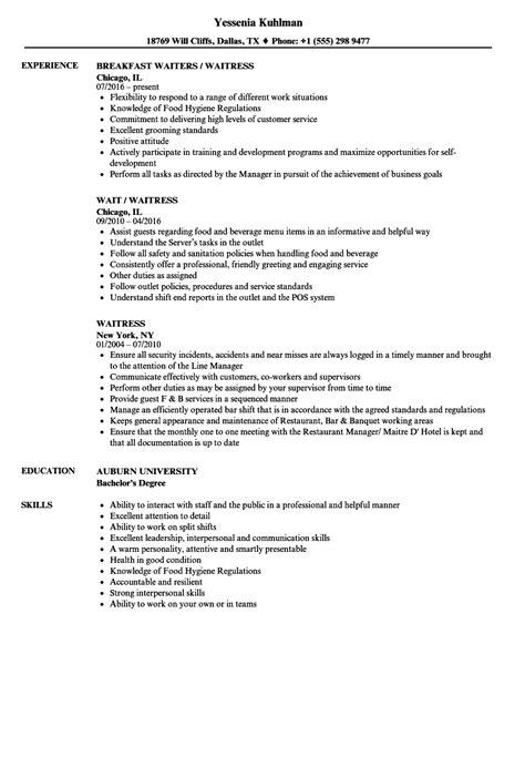 Waitress Resume by Waitress Resume Sles Velvet