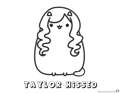 pusheen coloring pages taylor hissed  printable