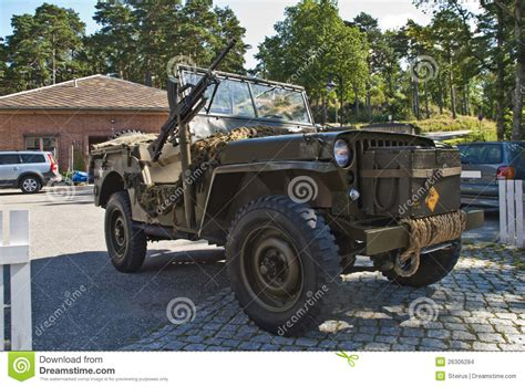 military jeep with gun willys jeep 1945 with machine guns editorial stock image