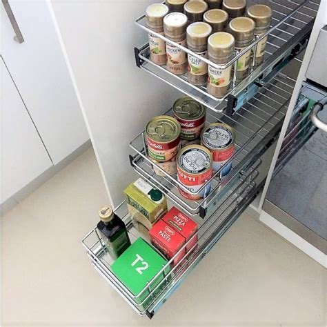 Pull Out Wire Baskets For Narrow Kitchen Cupboard Storage