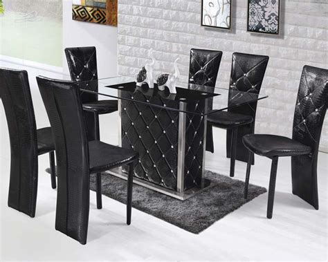 square dining table set dining set w rectangular glass top table nancy by acme