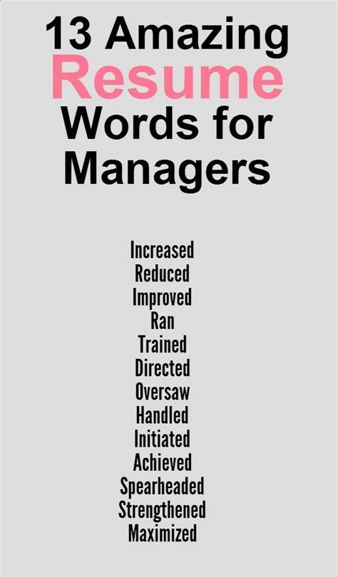 Resume Skills Power Words by Great Words To Use On Your Resume Things To Try