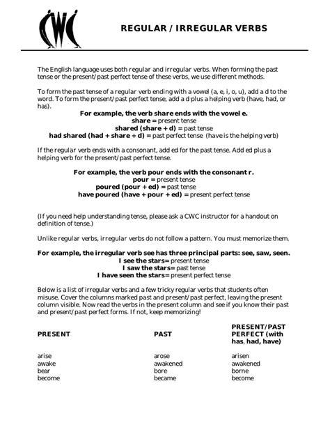 Verb List Irregular