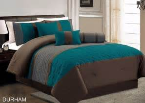 7 piece durham teal grey brown pleated quilting comforter set cal king ebay