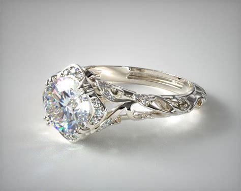 diamond filigree engagement ring 14k white gold