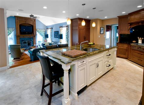 gourmet kitchen islands mahogany gourmet kitchen with white glazed center island