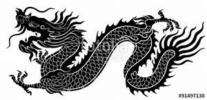 """Silhouette of Chinese dragon crawling"" Stock image and ..."
