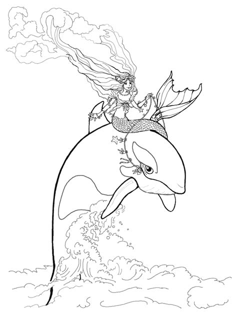 coloring page mermaid   whale