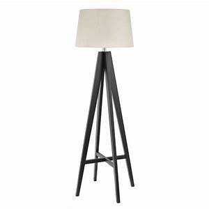 Dark wood floor lamp complete with cream shade for Contemporary dark wood floor lamp with shade