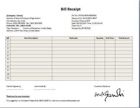 Professional Design Bill Receipt Template