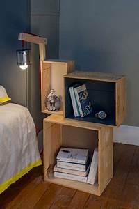 Fabriquer Une Lampe De Chevet : fabriquer une table de chevet avec des caisses vin ~ Zukunftsfamilie.com Idées de Décoration
