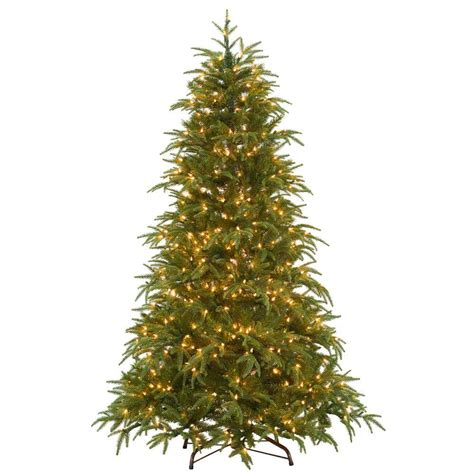 home depot real christmas trees national tree company 6 5 ft feel real frasier artificial tree with lights