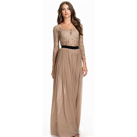 robe beige manche longue robe de soir 233 e manches longues en voile et en dentelle