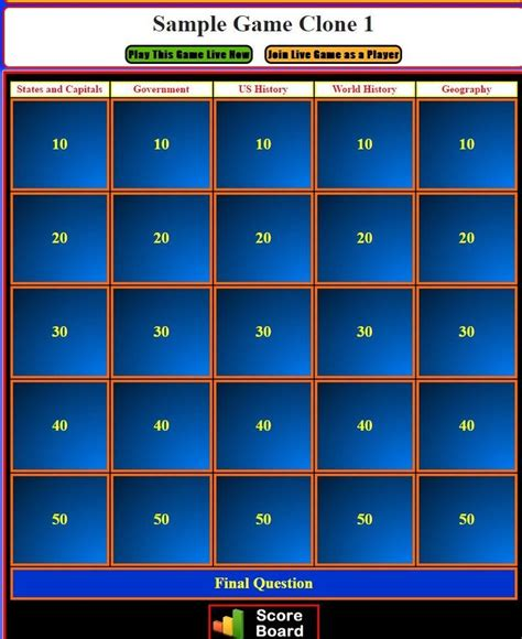 Jeopardy Powerpoint Template Jeopardy Templates