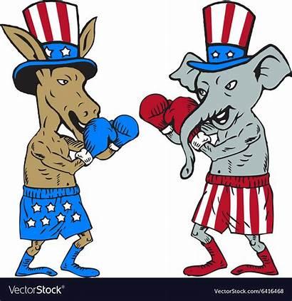 Donkey Elephant Republican Democrat Boxer Vector