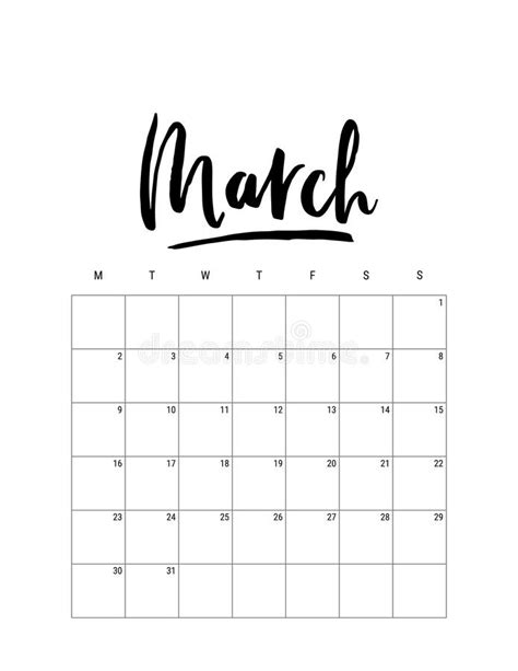march desk calendar  template week starts sunday