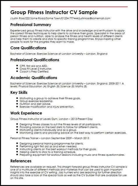 Fitness Resume Objective by Fitness Instructor Cv Sle Myperfectcv