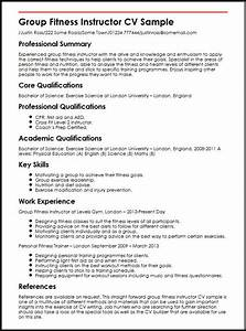 group fitness instructor cv sample myperfectcv With fitness resume template