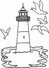 Lighthouse Coloring Pages Drawing Gulls Fly Around Getdrawings sketch template