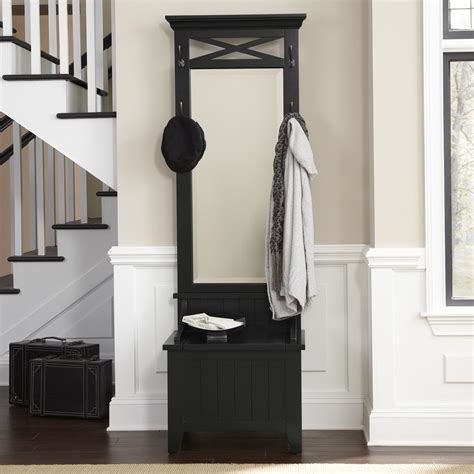 entryway tree with mirror and bench