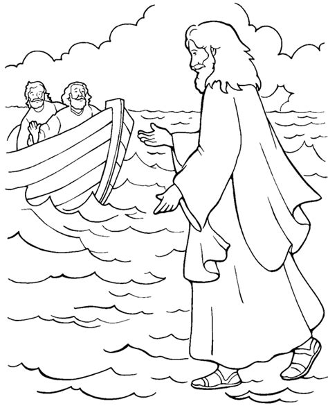 jesus walks  water coloring page