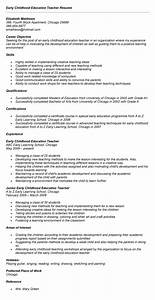 early childhood education resume recent grad job resume With early childhood education resume