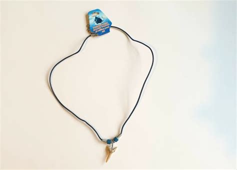 Fossil Sand Tiger Shark Tooth Necklace On Rubber Thong ...