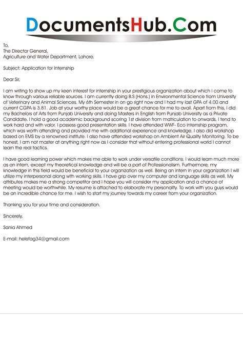 Sle Cover Letter For Environmental Internship by Cover Letter For Environmental Internship