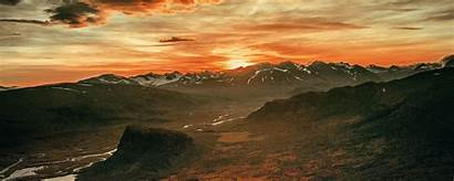Sunset Sky Mountains Overcast Landscape Ultrawide Clouds