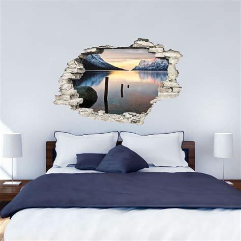 stickers muraux paysage trompe l oeil sticker trompe l œil paysage paradisiaque lac et montagnes stickers et design ambiance