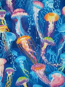 2 REMNANTSColorful Jellyfish Print Pure Cotton Fabric from