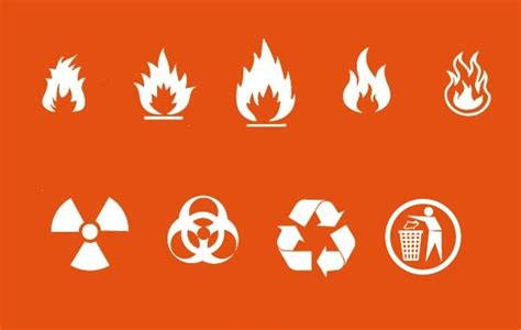 fire nuclear recycle signs vector hd icon resources