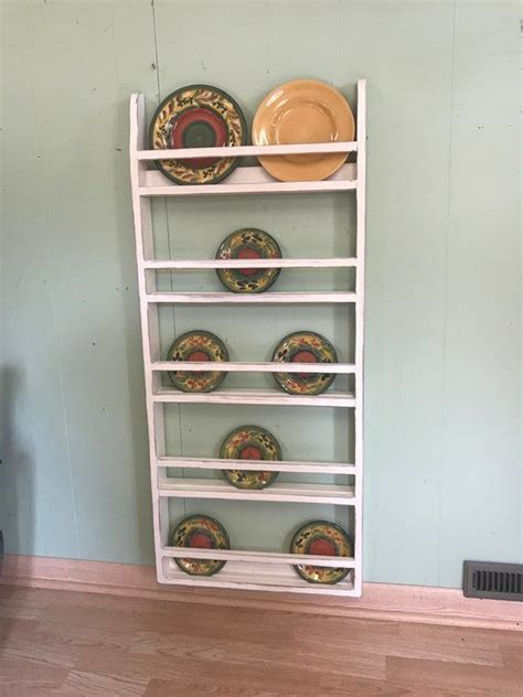 farmhouse plate rack wall hanging country rustic plate rack stand   plate rack wall