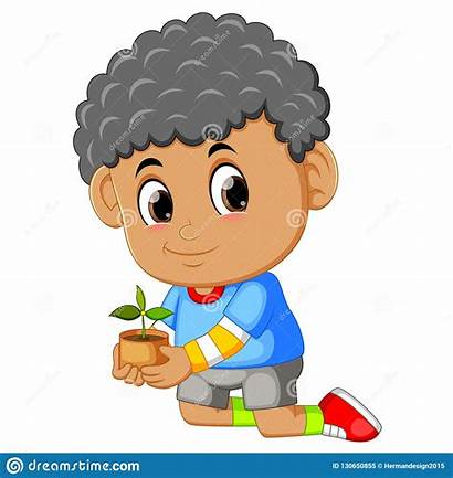 Seeding Het Soil Planting Carrying Boy Jongen