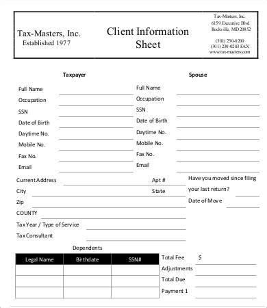 Client Information Form Template Free by Client Information Sheet Template 15 Free Word Pdf