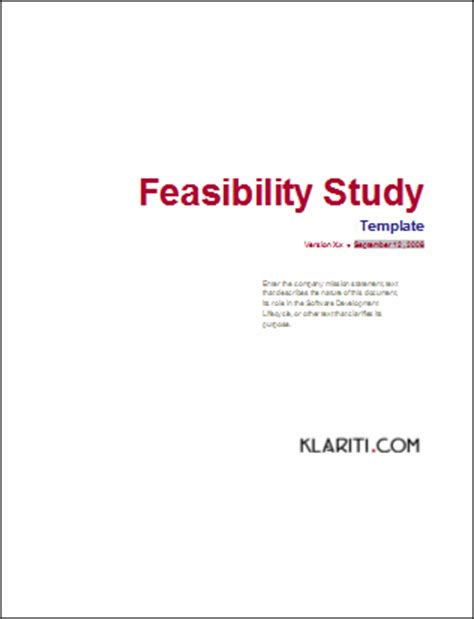 Business Feasibility Study Template Free by Feasibility Study Template Instant