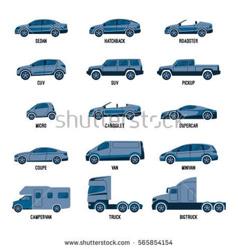 Types Of Automobiles List by Automobile Set Isolated On White Machines Stock Vector