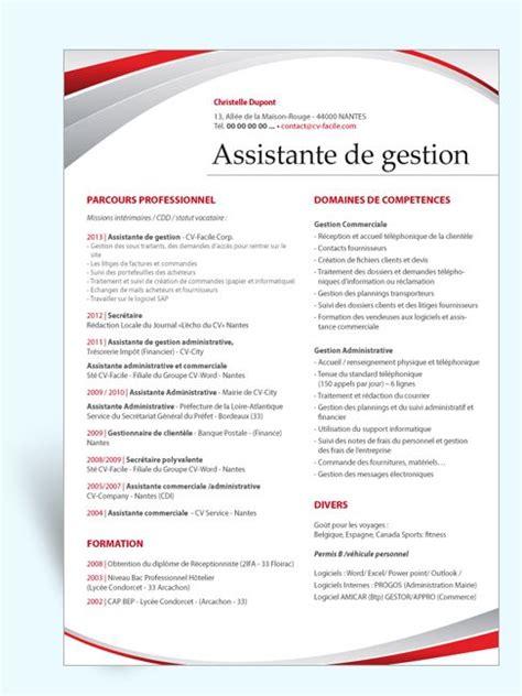 modèle cv secrétaire polyvalente mod 232 le cv original assistante de gestion cv