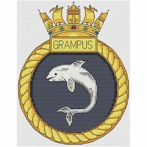 Hms Grampus Crest Cross Stitch Chart Only Elite Designs