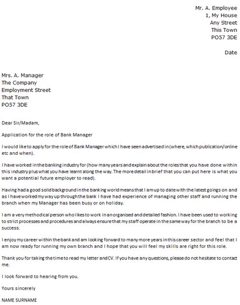 bank manager cover letter exle icover org uk