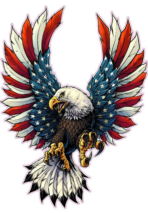 screaming american flag bald eagle  black tips large decal   shipping ebay
