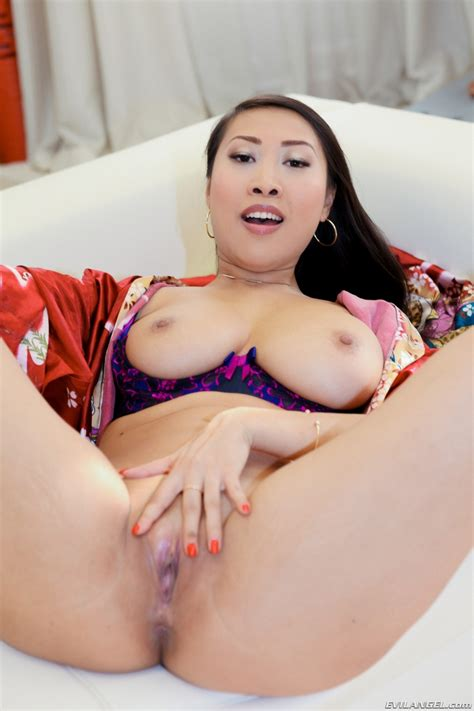 Busty Hot Asian Sharon Lee Spreading Her Shaved Pussy And