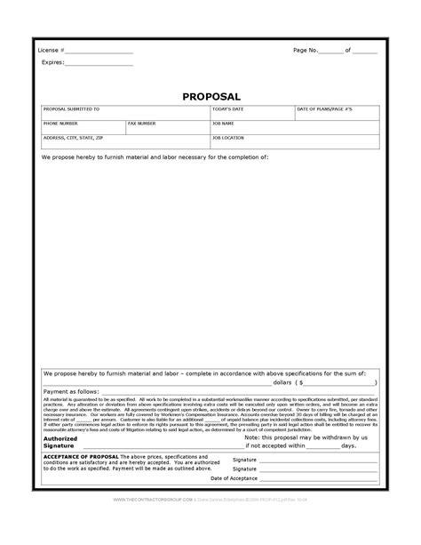 free print contractor forms construction form bid form estimate form
