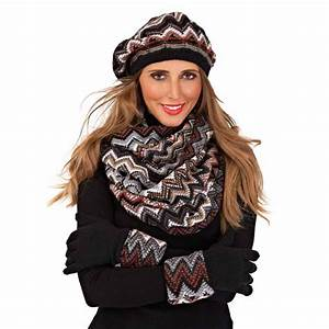 Womens Knitted Triangle Beret Hat Gloves Snood Scarf Set